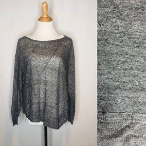 Eileen Fisher Gray Linen Asymmetrical Top med